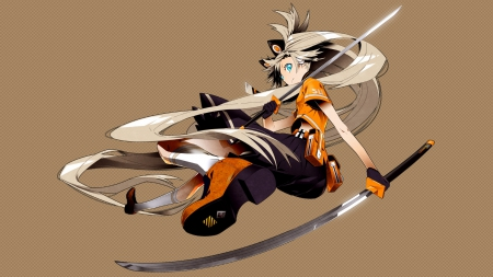 SeeU Never!!! - vocaloid, swords, kneehighs, skirt, blonde hair, weapons, anime, seeu, katana, blue eyes, long hair