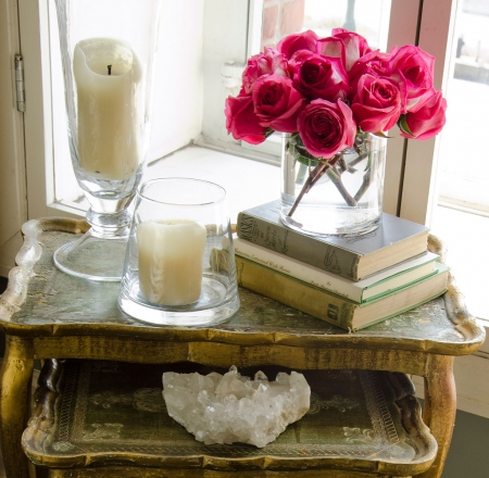 *.. Antique Books And Flowers*