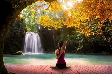 Mindfulness meditation waterfalls nature background - Meditation art wallpaper ...