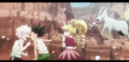 Is That Weird Horse ... NOT Me - quarrel, pretty, gon, canyon, angry, sweet, nice, killua zoldyck, anime, killua, anime girl, gon freecss, biscuit, hunter x hunter, fighting, female, lovely, silly, mad, cute, girl, funny