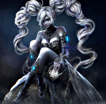 Fantasy girl - girl, dark age, forsaken world, beauty, white, blue