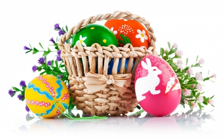Happy Easter! - rabbit, orange, yellow, easter, spring, pin, green, basket, eggs, white