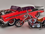 1956 Bel Air And A Kustom Harley