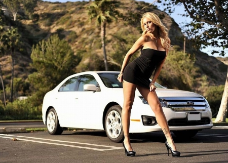 Sexy With A Ford - White, Model, Babe, Blonde