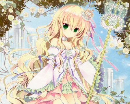 Pink Rose - staff, pretty, adorable, sweet, floral, nice, anime, royalty, anime girl, long hair, lovely, blonde, cute, pink rose, crown, rode, dress, blond, blossom, loli, tiara, pink, female, wand, rod, lolita, blonde hair, blond hair, kawaii, girl, flower, petals, princess
