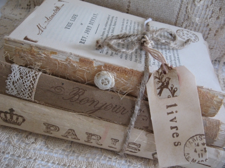 An old but beautiful package - books, objectc, three, package, old, vintage