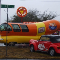 Two hotdog vehicles