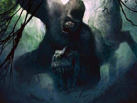 King Kong Versus T-Rex - fantasy, king kong, art, artwork