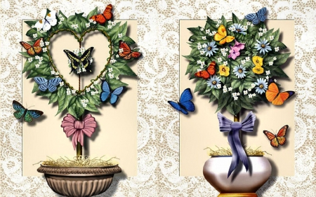 Topiary 3 & 4 F - art, butterfly, topiary, painting, wide screen, abstract, illustration, artwork