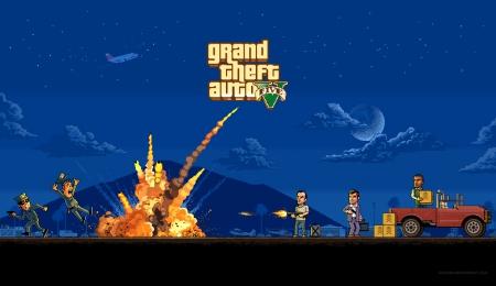 Gta 5 Pixel Art Grand Theft Auto Video Games Background