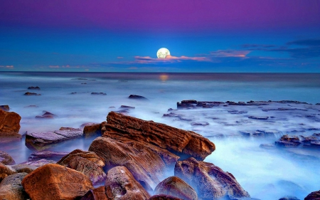 FULL MOON over the OCEAN - rocks, enchanting nature, ocean, waves, sky, clouds, sea, splendor, paradise, beaches, full moon, nature, landscape