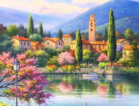 Village Lake Afternoon - architecture, villages, lakes, colors, love four seasons, beautiful, attractions in dreams, clock tower, boats, lakeside, paintings, landscapes