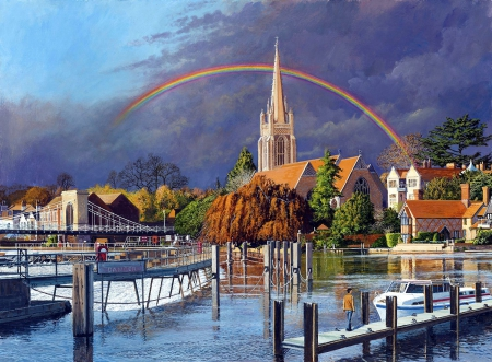 Under the Rainbow - houses, town, pier, church, trees, sky, clouds, lake, artwork, boat, painting
