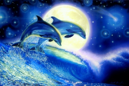 Playing dolphins - stars, pretty, lovely, ocean, beautiful, waves, sky, play, sea, moon, dolphins