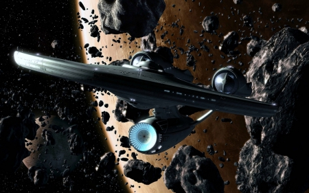 Starship Enterprise in an Asteroid Belt - Enterprise, Spaceship, Asteroid, Space