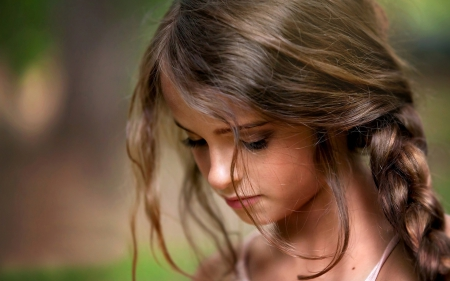 Little girl - Sad, little, girl, braid