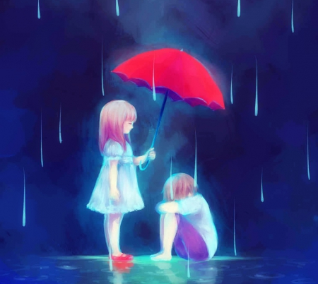 Fix You - loving care, friend, help, umbrella, fix, helping hand, rain, shine together, trouble