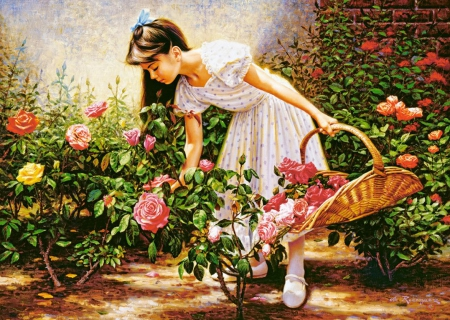 At the Rose Garden - girl, basket, painting, flowers, roses, artwork