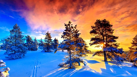 WINTER FROM NORWAY - enchanting nature, places, sunset, sky, seasons, clouds, forces of nature, winter, splendor, rays, snow, mountains, fractals, ice, nature, frost