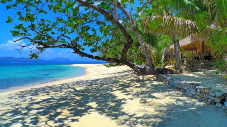 Remote And Exotic Beach - hut, travel, Philippines, beautiful, trees, palms, sea, beach, paradise, summer, white sands, island, light and shadow, tropical