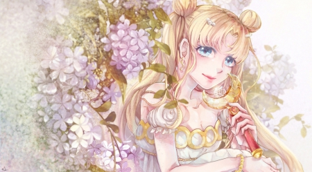 Serenity - pretty, adorable, sweet, floral, nice, anime, sailor moon, beauty, anime girl, long hair, lovely, twintail, blonde, happy, cute, serenity, dress, blond, divine, beautiful, sublime, twin tail, magical girl, blossom, tsukino usagi, sailormoon, usagi, female, wand, blonde hair, twintails, usagi tsukino, twin tails, princess serenity, blond hair, kawaii, tsukino, girl, flower, princess, angelic