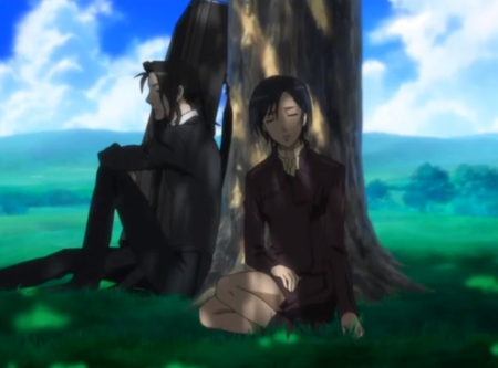 Sleep ... - hagi, pretty, saya, sleep, dreamy, guy, beautiful, sweet, nice, anime, otonashi, beauty, anime girl, dream, couple, sleepy, haji, blood plus, female, male, lovely, shadow, saya otonashi, anime couple, sleeping, tree, boy, shades, girl, dreaming, bloodplus