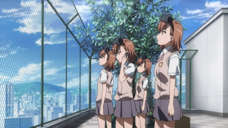 Sister'S - fence, pretty, mikoto misaka, sisters, adorable, sweet, nice, group, misaka, anime, anime girl, twins, team, school uniform, female, cloud, lovely, brown hair, misaka mikoto, sky, short hair, cute, railgun, kawaii, girl, to aru kagaku no railgun, uniform, sister, mikoto, scene