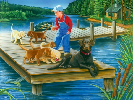 Go fetch - playing, forest, art, shore, pier, beautiful, cabin, lake, boy, puppies, serenity, painting, summer, dogs, fetch, fishing
