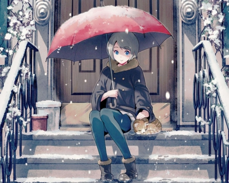 Snow Kitty - pretty, house, home, umbrella, beautiful, adorable, door, sweet, cold, staircase, nice, stair, sweater, anime, beauty, anime girl, female, lovely, kitty, cat, winter, short hair, cute, kawaii, girl, snow, kitten, scene