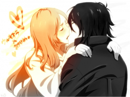 Ulquiorra and Orihime - ulquiorra, love, orihime, kiss, couple