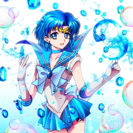 Sabao Spray - pretty, beautiful, sweet, magical girl, nice, anime, bubbles, sailor moon, beauty, anime girl, sailormoon, blue, female, sailor mercury, plain, short hair, lovley, water, girl, blue hair, simple, white