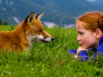 Girl and Red Fox