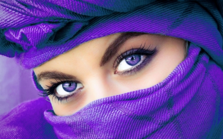 Woman in Purple - veil, veiled, beautiful, woman, photography, girl, purple, serene, face
