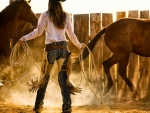 Cowgirl in Action