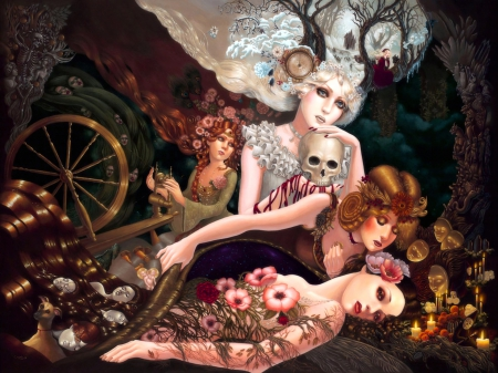 Four Seasons - magical, seasons, women, dark