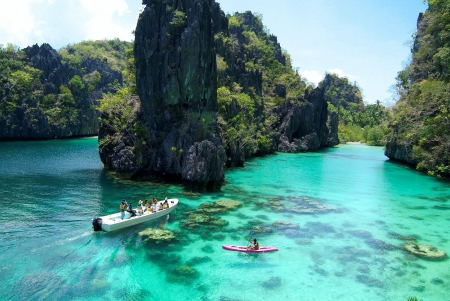 El Nido Beach, Palawan Island - islands, dive, Philippines, beautiful, foliage, palm trees, beach, boats, cliffs, paradise, crystal clear sea, green water, tropical