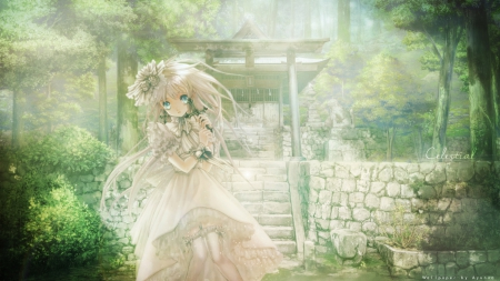 Celestial - pretty, dress, house, adorable, sweet, staircase, nice, stair, loli, anime, shrine, anime girl, scenery, long hair, gate, female, lovely, gown, lolita, building, cute, kawaii, girl, lady, scene, maiden
