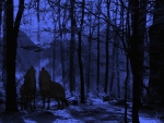 Twilight Wolves in Forest