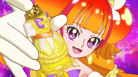 Dress Up Key - pretty, adorable, sweet, magical girl, nice, pretty cure, close up, anime, anime girl, long hair, star, female, lovely, closeup, smile, smiling, happy, cute, kawaii, girl, precure, cure twinkle, orange hair