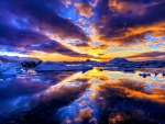 PURPLE CLOUDS REFLECTING in the WATER