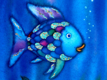 rainbow fish - fish, book, color, story, rainbow, blue