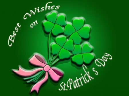 Best Wishes... - Saint Patricks Day, ribbon, bow, grren, clovers, bouquet, shamrocks, pink, Patricks Day
