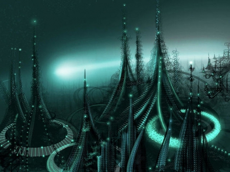 Alien city - world, society, life, night