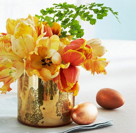 Easter centerpiece - still life, centerpiece, Easter eggs, flowers, vase, abstract