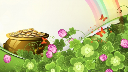 Saint Patrick's Day Rainbow - Saint Patricks Day, Ireland, Irish, rainbow, pot of gold, March, green, clover, shamrocks, luck