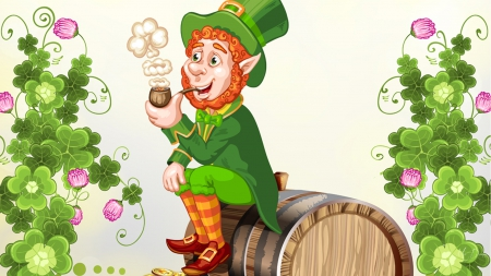 Saint Patrick Leprechaun - holiday, Ireland, Irish, barrel, leprechaun, Saint Patrick Day, clover, shamrocks, luck