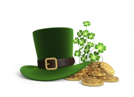 Saint Patrick's Day - top hat, clovers, gold, Saint Patricks Day, shamrocks, coins, Patricks Day, hat