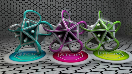 Stop - 1920x1080, abstract, 3D, green, stop, C4D, wallpapers, pink, blue