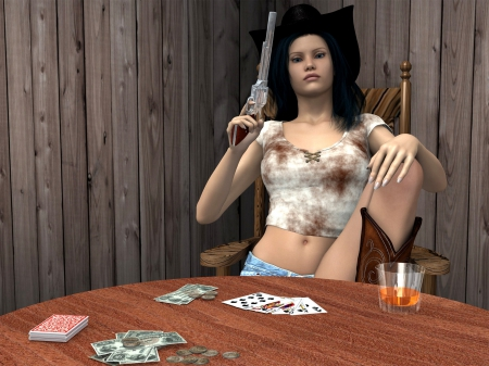 Cowgirl Gambler - art, female, models, hats, fun, women, guns, 3D, cards, pistols, cowgirls, girls, western, style