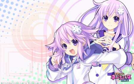Neptune & Nepgear - neptune, blush, game, hairpin, rebirth, one piece, playstation, anime, mk, nepgear, sexy, happy, cute, hairpins, purple, blushing, white, long, short, hair, 1, hot, girls, pink, 2, ps3, one, piece, smile, pins, pin, hyperdimension neptunia, girl, 3, pc